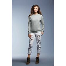 Ladies Crew Neck Sweatshirt Long Sleeve Pullover Plain Top Jumper Sweater Fitted