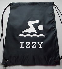 SWIMMING PRINT PERSONALISED DRAWSTRING BAG VARIOUS COLOURS