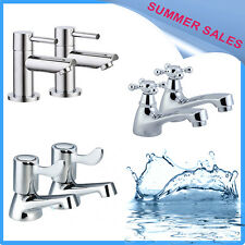 Bathroom Basin Sink Twin Taps   1/4 Turn Lever Chrome Hot & Cold Set