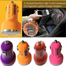 3.1A Dual Twin Port USB 12 24 V Universal Car Cigarette Lighter Charger Adapter