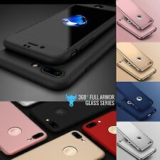 New Hybrid 360°✔Hard Ultra thin Case ✔Tempered Glass Cover For iPhone 5 5S SE