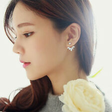 Gold, Silver Plated Leaf Crystal Women's Girl's Stud Fashion Earrings