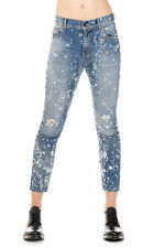 AMEN Donna EMBROIDERED STONE LUPARA Jeans Blu in Denim Made in Italy