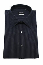 Valentino Men Slim Fit Cotton Dress Shirt Pinstripe Navy Grey