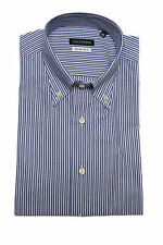 Valentino Men's Slim Fit Cotton Dress Shirt Pinstripe-Blue-White