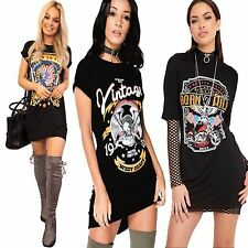 New Ladies Women BORN TO BE WILD FLY Vintage Printed TOP T Shirt Mini Dress 8-26