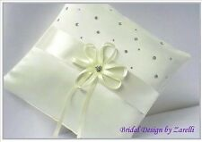 WEDDING RING CUSHION/PILLOW. White/Ivory satin, ribbons & scattered diamantes