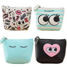 Girls Cute Coin Purse Wallet Key Holder Zip Close Leather Look 4 Styles UK Stock