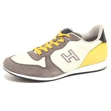 4123Q sneaker uomo HOGAN OLYMPIA X NEW grigio/giallo suede grey yellow shoe men