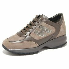 8157N sneakers donna HOGAN INTERACTIVE STRASS marrone suede shoes woman