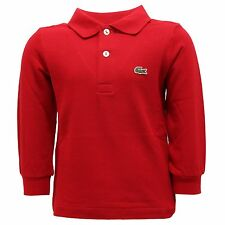 4296R polo bimbo LACOSTE COCCINELLE manica lunga rossa long sleeve t-shirt kids