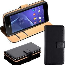 Luxury Genuine Real Leather Wallet Case Flip Cover for Sony Experia  All Models