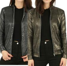 Ladies Womens Ribbed Foil Metallic Long Sleeve MA1 Bomber Jacket Zip Biker Coat