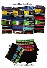 6 / 12 Boys Pierre Klein Boxer Shorts  Poly Cotton Designer Trunks Underwear