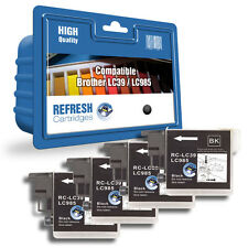 Refresh Cartuchos 4 Pack de Negro LC985 Tinta Compatible con Brother Impresoras