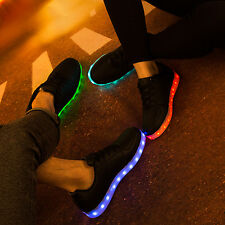 Uomini Donna UK Unisex LED Scarpe Glowing Luminoso Sneaker Casual Lacci Usb