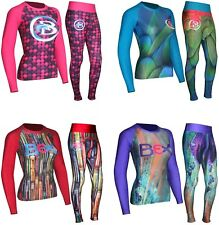 WOMEN'S RASH GUARD COMPRESSION YOGA TOP & TIGHT FITNESS GYM RUNNING BASE LAYER