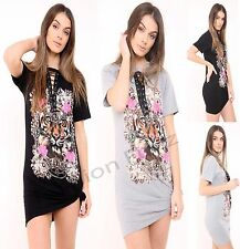 Womens Ladie Lace UP Jewel Floral Flower Loin Print Long T-shirt Tunic Dress Top
