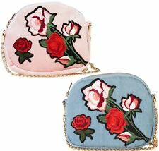 Womens New Rose Embroided Denim PU Shoulder Bag Designer Fashion Purse