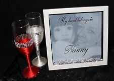 Personalised HQ Box Frame Print Nanny Grandma Gift Photo Birthday Diamantes N1