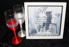 Personalised HQ Box Frame Print Mum Mam Mother Gift Photo Birthday Diamantes M2