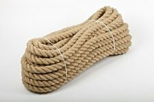 24mm 100% Natural Jute Hessian Rope Cord Braided Twisted Boating Garden Decking
