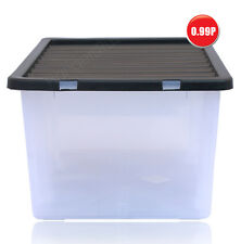 Heavy Duty Storage Box with Lid - Storage Container 8 Ltr & 14 Ltr White & Black