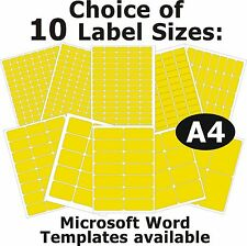YELLOW Laser Copier Inkjet Printer Labels 5 A4 Sheets Self-Adhesive Stickers