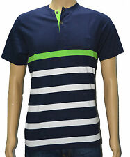 Round Neck T Shirts For Men - Navy Blue & White Striped T Shirt For Men