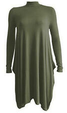 M03 New Womens Polo Turtle Neck Long Sleeve Flared Swing Hanky Plus Size Dress