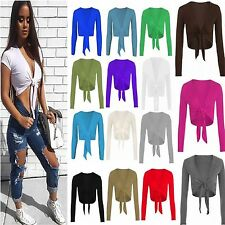 Womens Tie Up Front Ladies Long Sleeve New Plain Cropped Shrug Cardigan Top 8-26