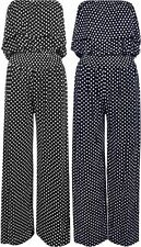 NEW WOMENS POLKA DOT BANDEAU FRILL TOP WIDE PALAZZO LEG JUMPSUIT PLUS SIZE 8-20