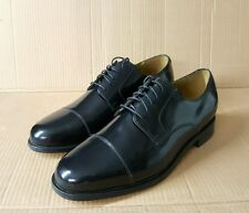 Branded Black Derby Cap-Toe Shoes UK9.5,10.5,11 Sizes Authentic Leather Sole