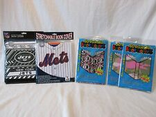 NEW- (LOT OF 5) STRETCHABLE FABRIC BOOK COVERS, METS, JETS, CAMOUFLAGE, WASHABLE
