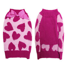 Pet Dog Puppy Heart Turtleneck Sweater Coat Clothes Apparel Rose Red Size XS-L