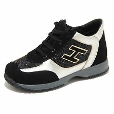 8419M INTERACTIVE HOGAN JUNIOR scarpe bimba sneaker shoes kids nero platino
