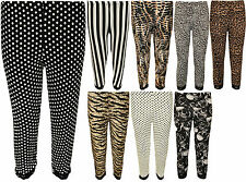 New Womens Plus Size Lace Animal Striped Print 3/4 Ladies Short Leggings 12 - 30