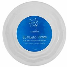 """23cm 9"""" Round White Disposable Party Plate TableWare Birthday Picnic Parties BBQ"""