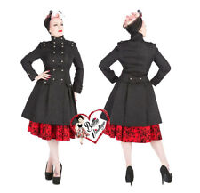 Hearts & Roses Black Gothic Military Steampunk Frock Brocade Emo Trench Coat H&R