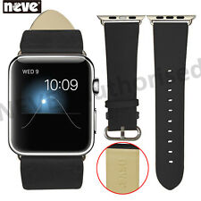 NEVE® Black 38/42 mm Leather Stainless Steel Adapter Strap For Apple Watch 1 2