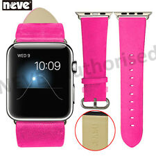 NEVE® Pink 38/42 mm Leather Stainless Steel Adapter Strap For Apple Watch 1 2