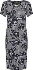 Plus Womens Floral Stripe Midi Dress Ladies Short Sleeve Print Round Neck New