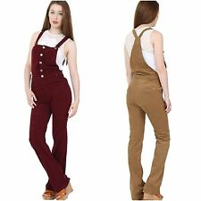 Corduroy Button Front Bordo Khaki Camel Dungarees Jumpsuit Flared Bib Overalls