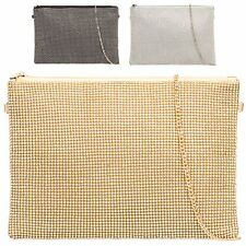 Ladies Designer Diamante Clutch Bag Evening Shoulder Bag Handbag Purse KZ742