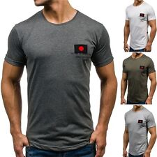 BOLF Hombre Camiseta T-Shirt Manga corta Estampado Ajustado Informal Party