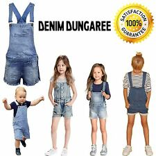 New Kids Girls DENIM Stretch Light Wash Dungarees Playsuits Jumpsuit Short Dress