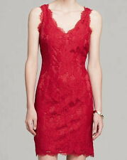 NWT $169 Adrianna Papell Lace Overlay Cocktail Dress Ruby Red 4 6 10 12 14 16