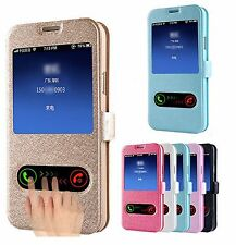 Premium S-View Dual Window Leather Stand Flip Wallet Case For Samsung Galaxy S7