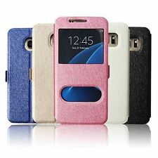 S-View Dual Window Leather Stand Flip Wallet Case Cover For Samsung Galaxy S7