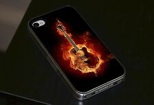 Burning Chitarra Fire Flame Roccia Cover Rigida Per Telefonino per iPhone 4 4s 5